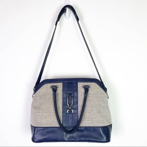 London Fog Beige and Navy Tote
